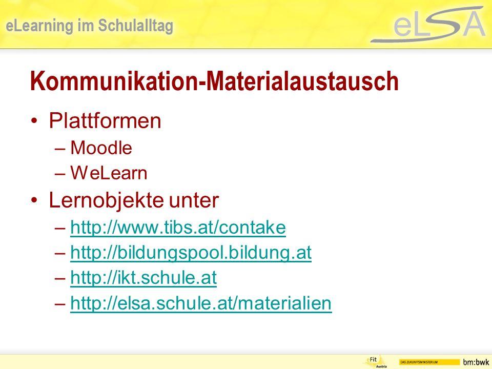 Kommunikation-Materialaustausch Plattformen –Moodle –WeLearn Lernobjekte unter –http://www.tibs.at/contakehttp://www.tibs.at/contake –http://bildungspool.bildung.athttp://bildungspool.bildung.at –http://ikt.schule.athttp://ikt.schule.at –http://elsa.schule.at/materialienhttp://elsa.schule.at/materialien
