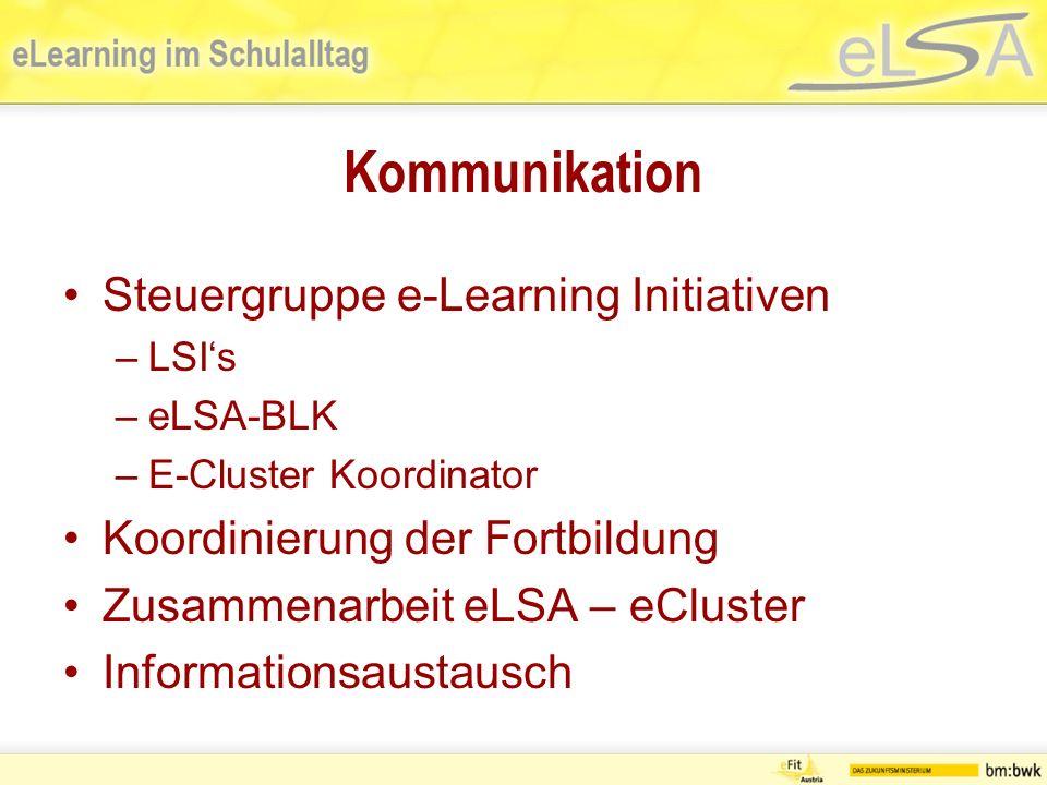 Kommunikation Steuergruppe e-Learning Initiativen –LSIs –eLSA-BLK –E-Cluster Koordinator Koordinierung der Fortbildung Zusammenarbeit eLSA – eCluster Informationsaustausch