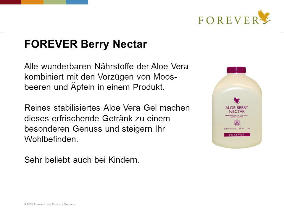 © 2008 Forever Living Products Germany Alle wunderbaren Nährstoffe der Aloe Vera kombiniert mit den Vorzügen von Moos- beeren und Äpfeln in einem Prod