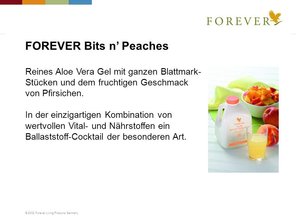 © 2008 Forever Living Products Germany Reines Aloe Vera Gel mit ganzen Blattmark- Stücken und dem fruchtigen Geschmack von Pfirsichen. In der einzigar