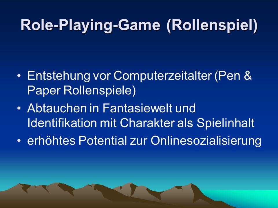 Role-Playing-Game (Rollenspiel) Entstehung vor Computerzeitalter (Pen & Paper Rollenspiele) Abtauchen in Fantasiewelt und Identifikation mit Charakter