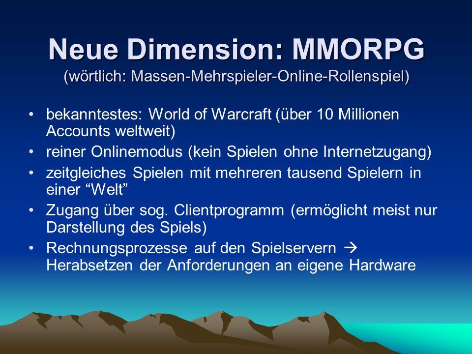 Neue Dimension: MMORPG (wörtlich: Massen-Mehrspieler-Online-Rollenspiel) bekanntestes: World of Warcraft (über 10 Millionen Accounts weltweit) reiner