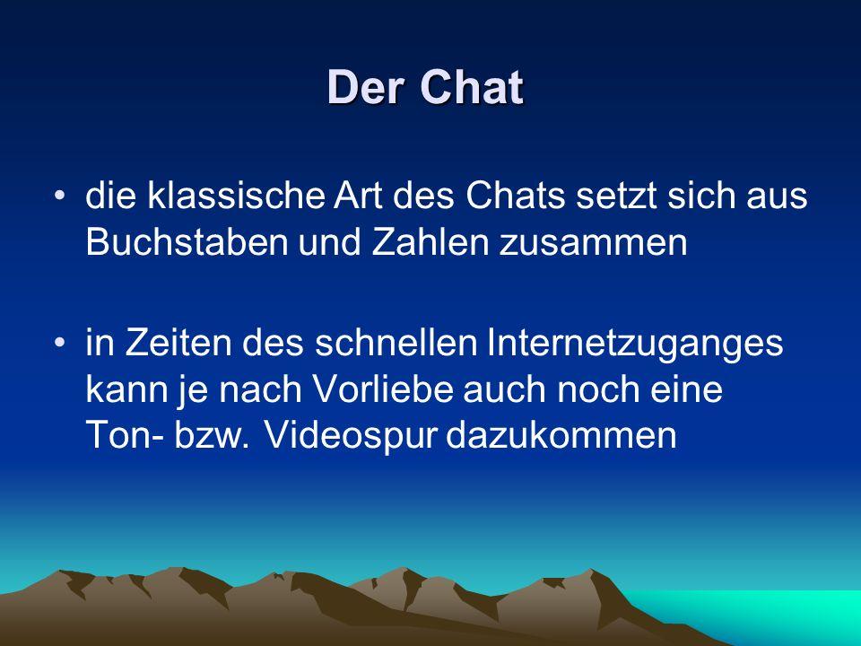 Der Chat die klassische Art des Chats setzt sich aus Buchstaben und Zahlen zusammen in Zeiten des schnellen Internetzuganges kann je nach Vorliebe auc