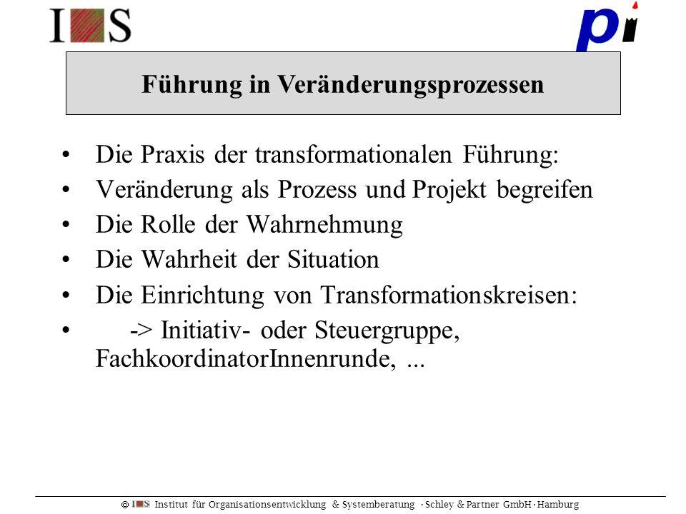 Institut für Organisationsentwicklung & Systemberatung Schley & Partner GmbHHamburg Die Praxis der transformationalen Führung: Veränderung als Prozess