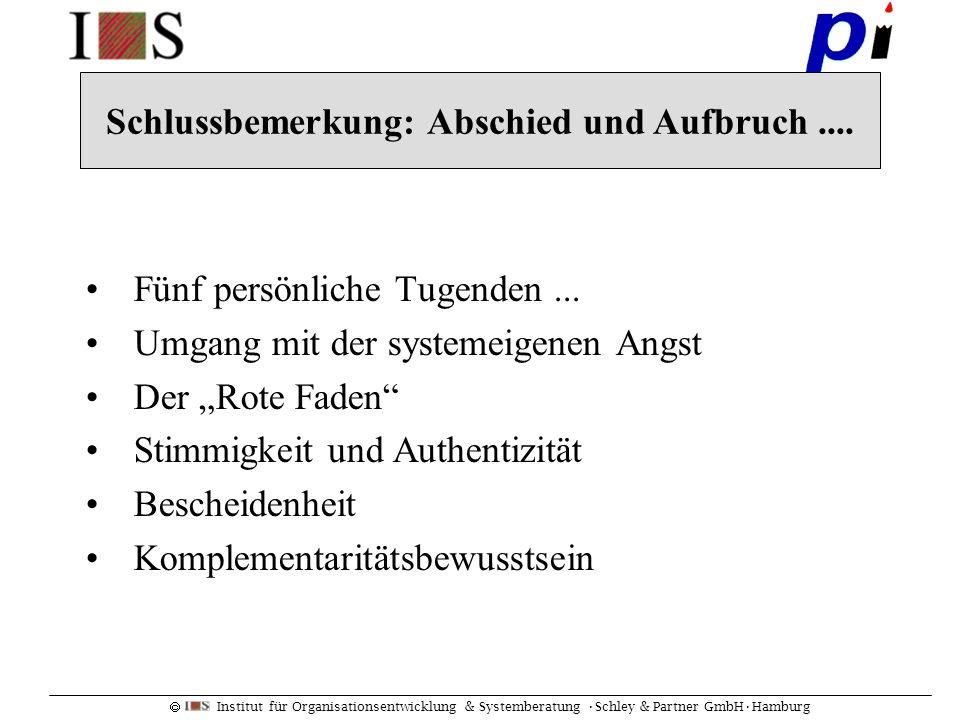 Institut für Organisationsentwicklung & Systemberatung Schley & Partner GmbHHamburg Fünf persönliche Tugenden... Umgang mit der systemeigenen Angst De
