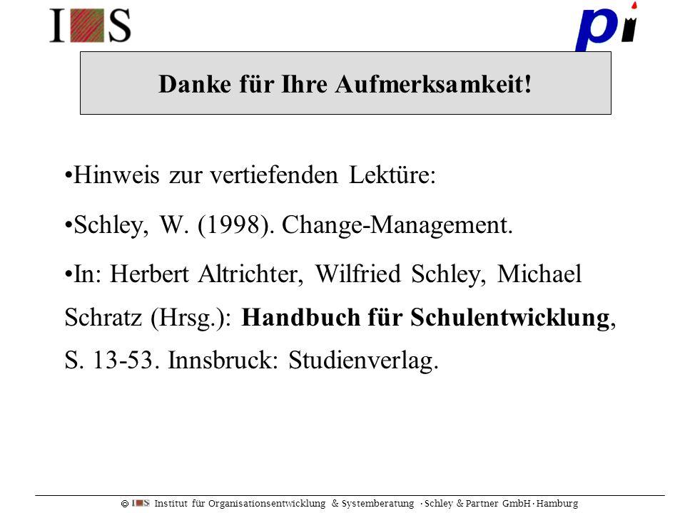 Institut für Organisationsentwicklung & Systemberatung Schley & Partner GmbHHamburg Hinweis zur vertiefenden Lektüre: Schley, W. (1998). Change-Manage