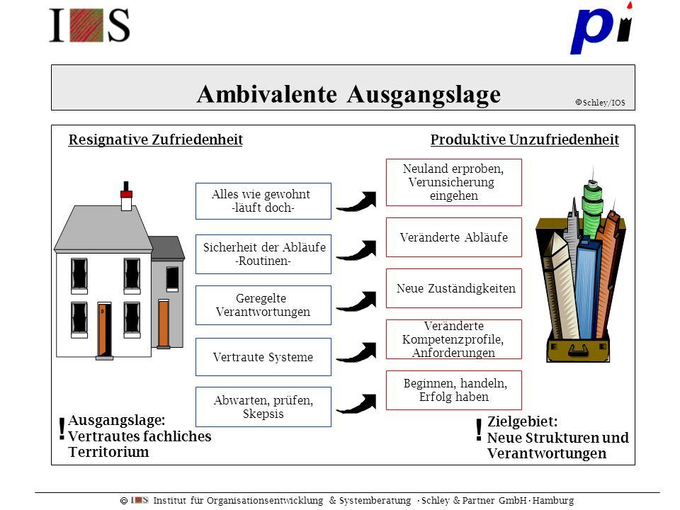Institut für Organisationsentwicklung & Systemberatung Schley & Partner GmbHHamburg Ambivalente Ausgangslage Produktive UnzufriedenheitResignative Zuf