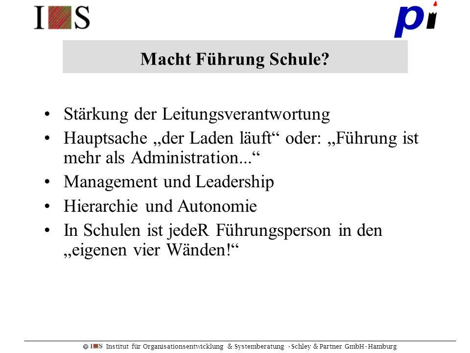 Institut für Organisationsentwicklung & Systemberatung Schley & Partner GmbHHamburg Stärkung der Leitungsverantwortung Hauptsache der Laden läuft oder