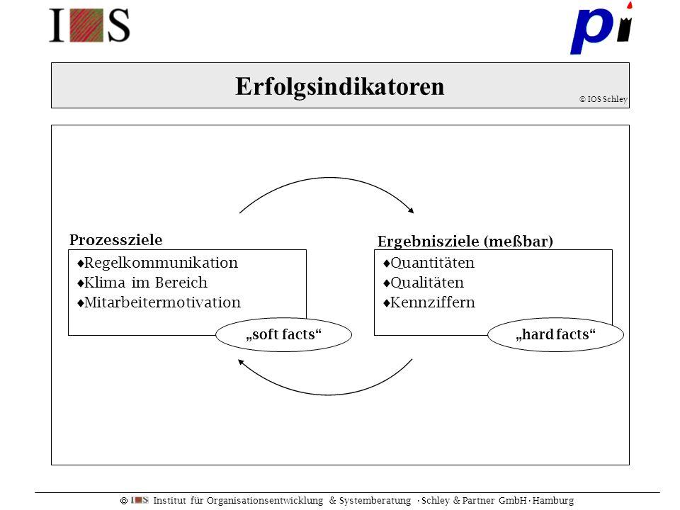 Institut für Organisationsentwicklung & Systemberatung Schley & Partner GmbHHamburg Erfolgsindikatoren © IOS Schley Prozessziele Ergebnisziele (meßbar