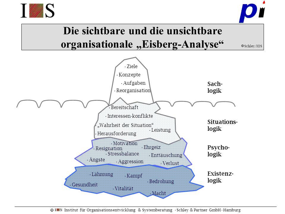 Institut für Organisationsentwicklung & Systemberatung Schley & Partner GmbHHamburg Ziele Aufgaben Konzepte Reorganisation Die sichtbare und die unsic