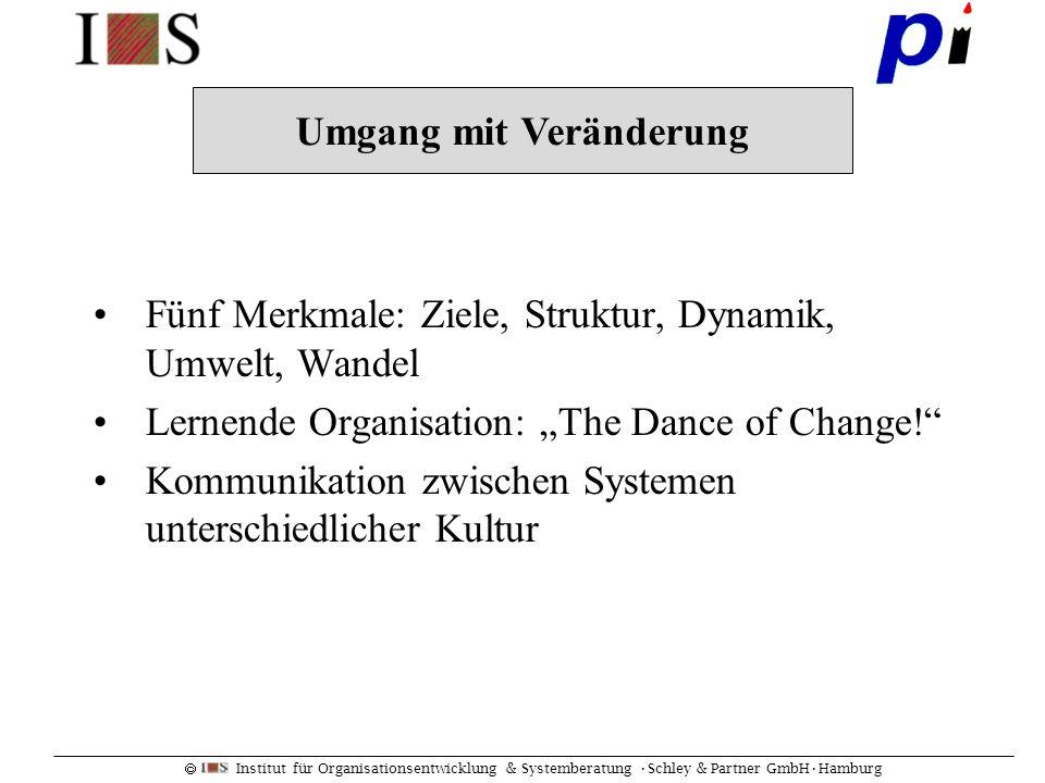 Institut für Organisationsentwicklung & Systemberatung Schley & Partner GmbHHamburg Fünf Merkmale: Ziele, Struktur, Dynamik, Umwelt, Wandel Lernende O