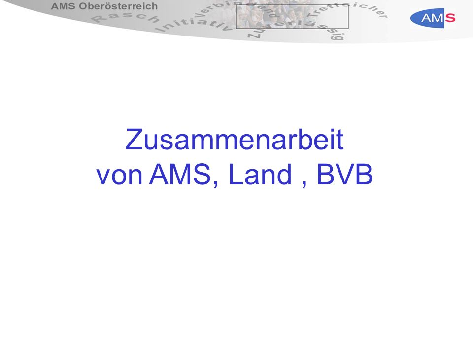 Grundsätze der Kooperation zwischen AMS, Land und BVB Gleicher Zugang von bMS-BezieherInnen zu Maßnahmen der Arbeitsmarktförderung wie andere Arbeitsuchende auch Personen, die Leistungen des AMS in Anspruch nehmen, erhalten auch erforderliche Infos über bMS Anträge auf bMS werden vom AMS entgegengenommen und ungeprüft und ohne Aufschub an Träger der bMS weiter geleitet AMS informiert Träger der bMS über Verhalten von bMS- BezieherInnen, die zu Sanktionen nach dem ALVG führen AMS und Länder anerkennen Gutachten des jeweils anderen zur Feststellung der Arbeitsfähigkeit Einrichtung von Clearingstellen in den Bezirken Kofinanzierungsvereinbarungen