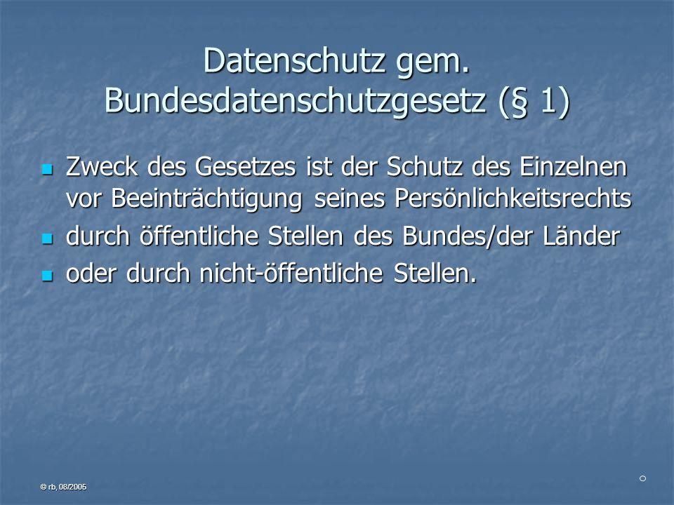 © rb, 08/2005 Kontrolle der Einhaltung des Datenschutzes Dienststelle behördlicher Datenschutzbeauftragter Bundesdatenschutzbeauftragter prüft berichtet bemängelt Tätigkeits- bericht erwähnt