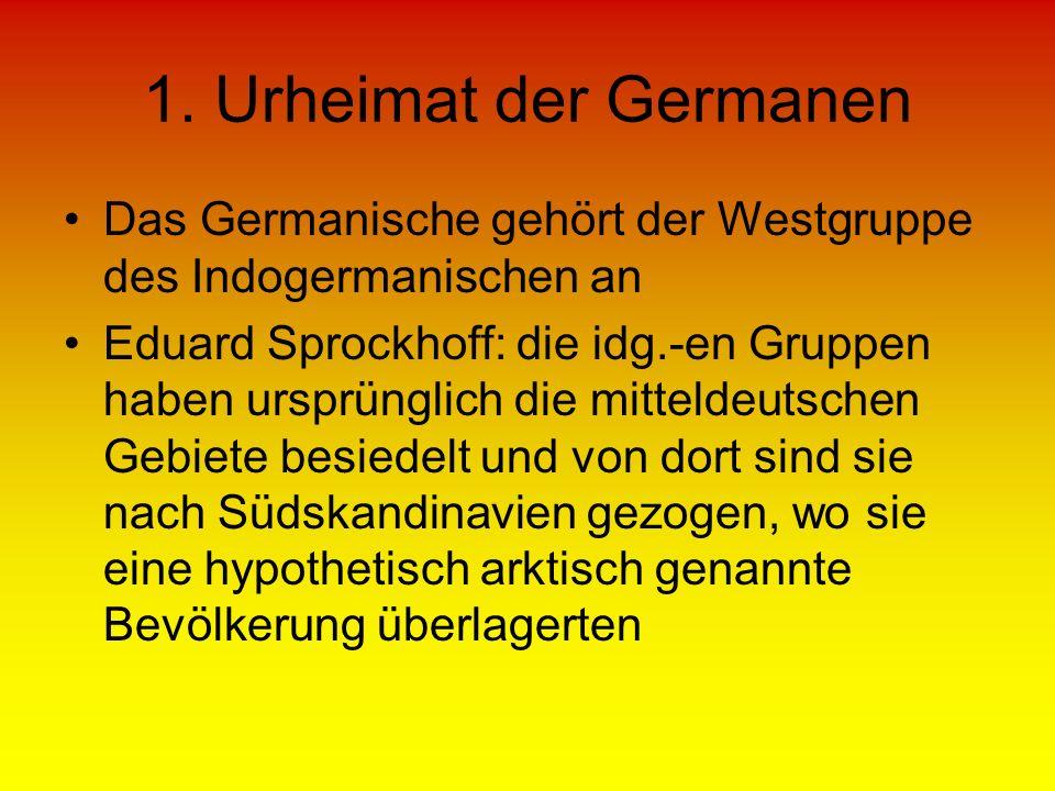1. Urheimat der Germanen Das Germanische gehört der Westgruppe des Indogermanischen an Eduard Sprockhoff: die idg.-en Gruppen haben ursprünglich die m