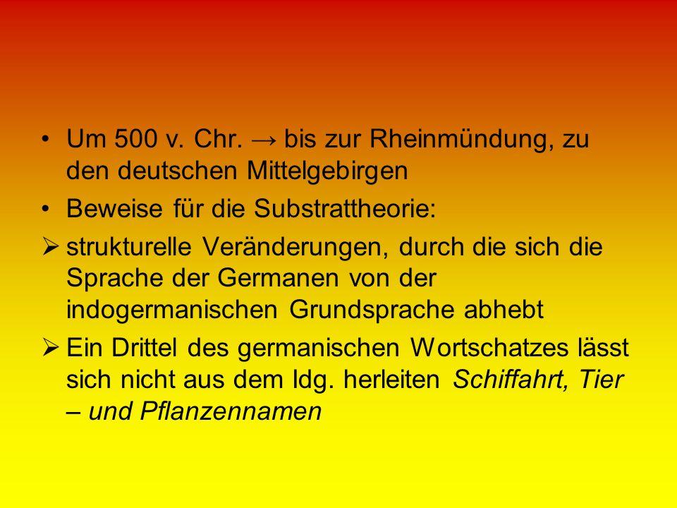 Um 500 v. Chr. bis zur Rheinmündung, zu den deutschen Mittelgebirgen Beweise für die Substrattheorie: strukturelle Veränderungen, durch die sich die S