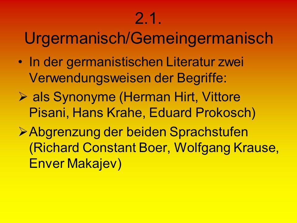 2.1. Urgermanisch/Gemeingermanisch In der germanistischen Literatur zwei Verwendungsweisen der Begriffe: als Synonyme (Herman Hirt, Vittore Pisani, Ha