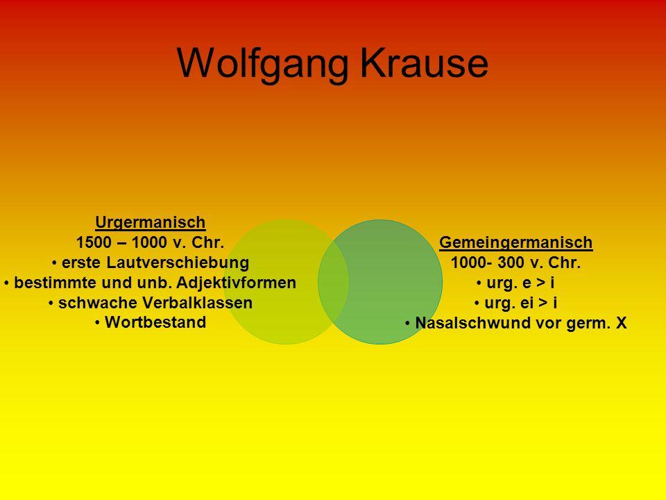 Wolfgang Krause Urgermanisch 1500 – 1000 v. Chr. erste Lautverschiebung bestimmte und unb. Adjektivformen schwache Verbalklassen Wortbestand Gemeinger