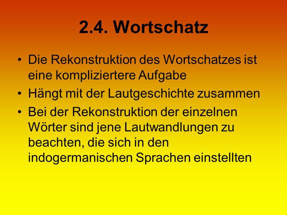2.4. Wortschatz Die Rekonstruktion des Wortschatzes ist eine kompliziertere Aufgabe Hängt mit der Lautgeschichte zusammen Bei der Rekonstruktion der e
