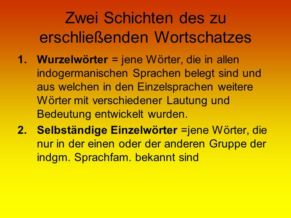 Zwei Schichten des zu erschließenden Wortschatzes 1.Wurzelwörter = jene Wörter, die in allen indogermanischen Sprachen belegt sind und aus welchen in
