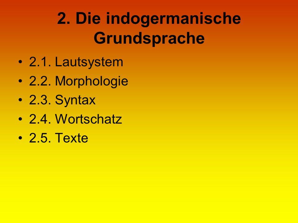 2. Die indogermanische Grundsprache 2.1. Lautsystem 2.2. Morphologie 2.3. Syntax 2.4. Wortschatz 2.5. Texte