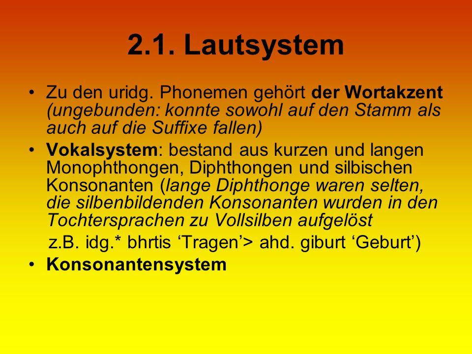 2.1. Lautsystem Zu den uridg. Phonemen gehört der Wortakzent (ungebunden: konnte sowohl auf den Stamm als auch auf die Suffixe fallen) Vokalsystem: be