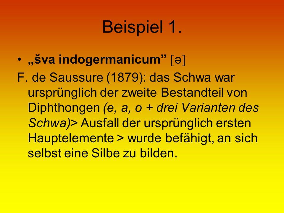 Beispiel 1. šva indogermanicum ə F. de Saussure (1879): das Schwa war ursprünglich der zweite Bestandteil von Diphthongen (e, a, o + drei Varianten de