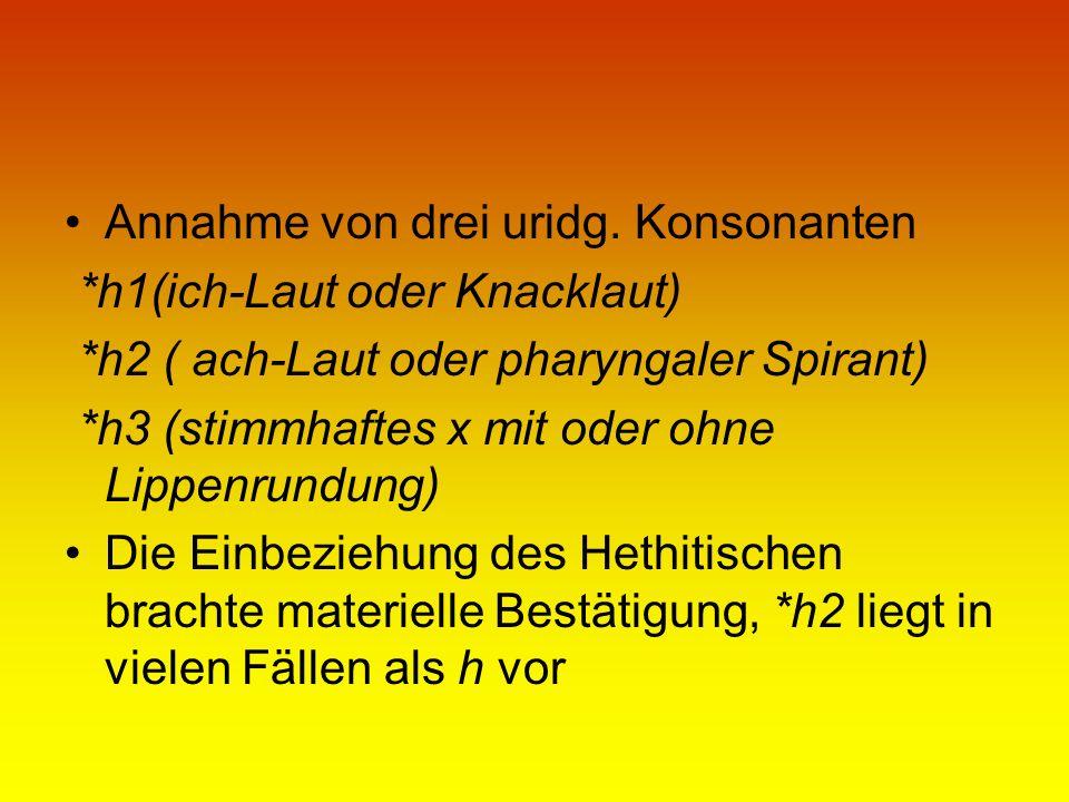 Annahme von drei uridg. Konsonanten *h1(ich-Laut oder Knacklaut) *h2 ( ach-Laut oder pharyngaler Spirant) *h3 (stimmhaftes x mit oder ohne Lippenrundu