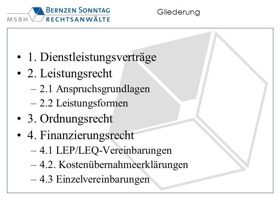 Gliederung 1. Dienstleistungsverträge 2. Leistungsrecht –2.1 Anspruchsgrundlagen –2.2 Leistungsformen 3. Ordnungsrecht 4. Finanzierungsrecht –4.1 LEP/