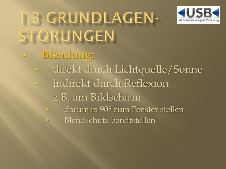 Blendung: Blendung: direkt durch Lichtquelle/Sonne direkt durch Lichtquelle/Sonne indirekt durch Reflexion indirekt durch Reflexion z.B.