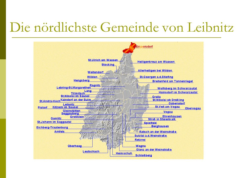 Generelles Ortsteile: Empersdorf Rauden Liebensdorf Michelbach Dürnberg Größe:1417 ha Einwohner:1306 Personen 50 km Straßennetz Empersdorf