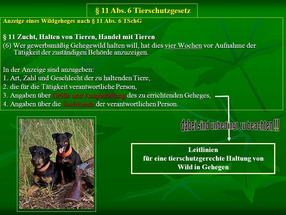 Anzeige eines Wildgeheges nach § 11 Abs. 6 TSchG § 11 Zucht, Halten von Tieren, Handel mit Tieren (6) Wer gewerbsmäßig Gehegewild halten will, hat die
