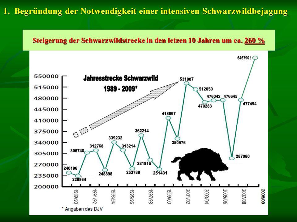1.Begründung der Notwendigkeit einer intensiven Schwarzwildbejagung Steigerung der Schwarzwildstrecke in den letzen 10 Jahren um ca. 260 %