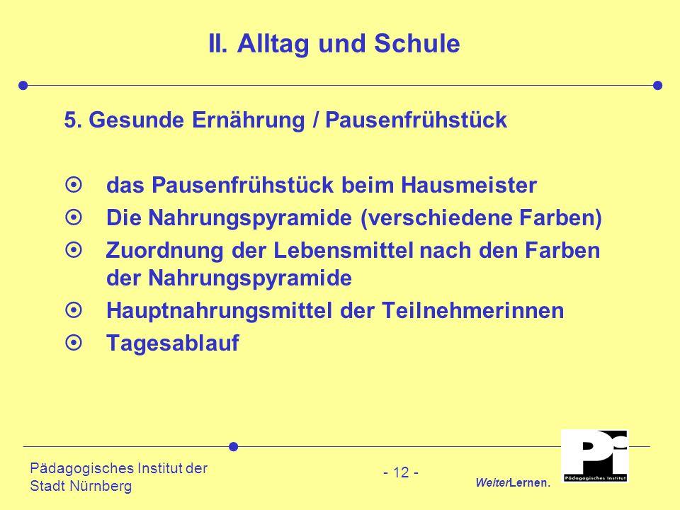 Pädagogisches Institut der Stadt Nürnberg WeiterLernen. - 12 - II. Alltag und Schule 5. Gesunde Ernährung / Pausenfrühstück ¤das Pausenfrühstück beim