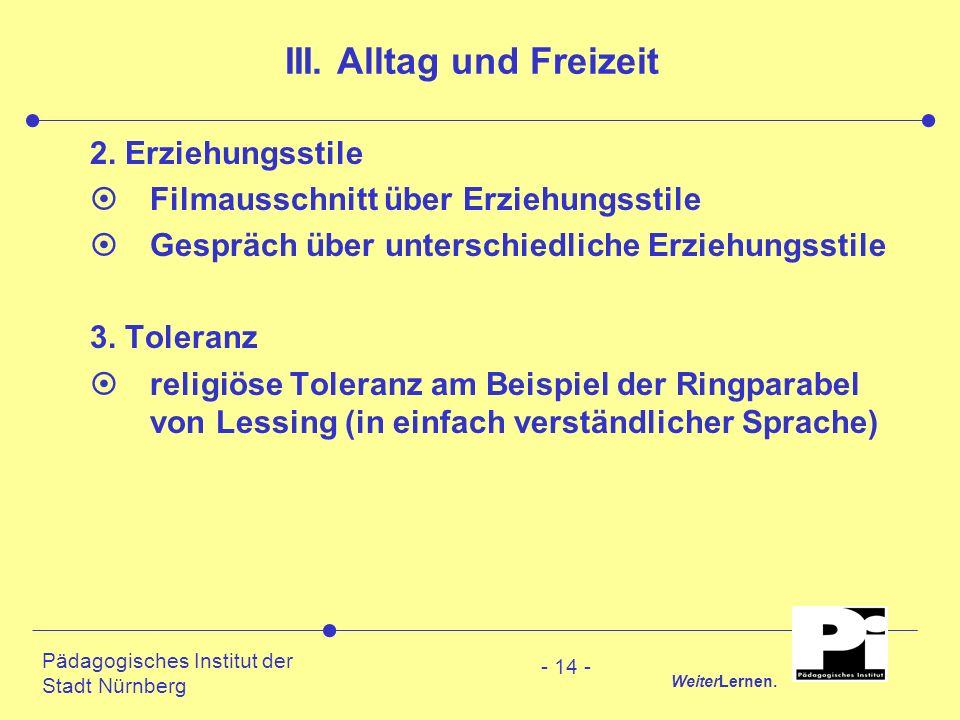 Pädagogisches Institut der Stadt Nürnberg WeiterLernen. - 14 - III. Alltag und Freizeit 2. Erziehungsstile ¤Filmausschnitt über Erziehungsstile ¤Gespr