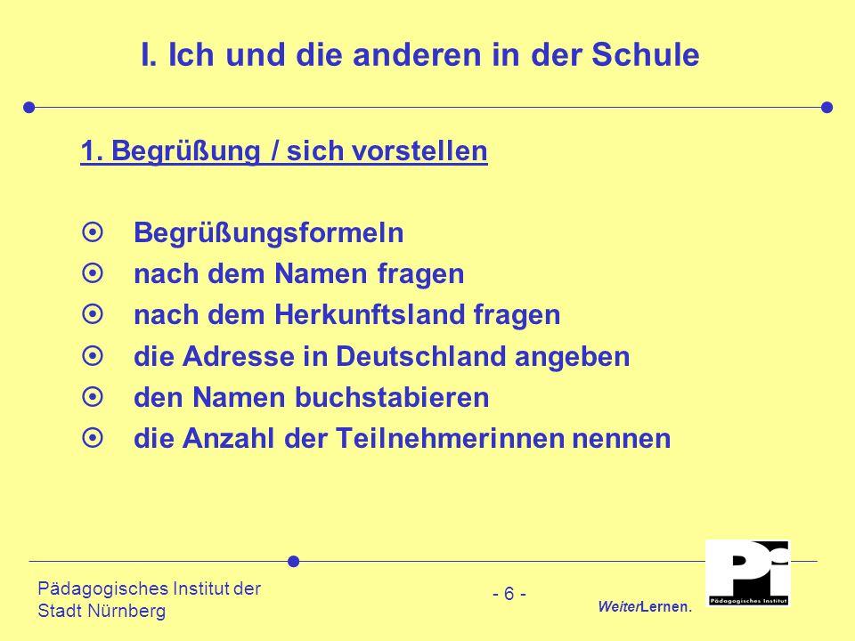 Pädagogisches Institut der Stadt Nürnberg WeiterLernen. - 6 - I. Ich und die anderen in der Schule 1. Begrüßung / sich vorstellen ¤Begrüßungsformeln ¤