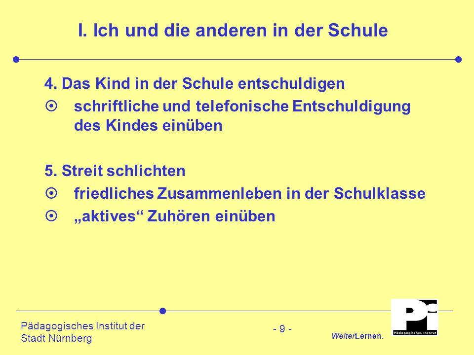 Pädagogisches Institut der Stadt Nürnberg WeiterLernen. - 9 - I. Ich und die anderen in der Schule 4. Das Kind in der Schule entschuldigen ¤schriftlic