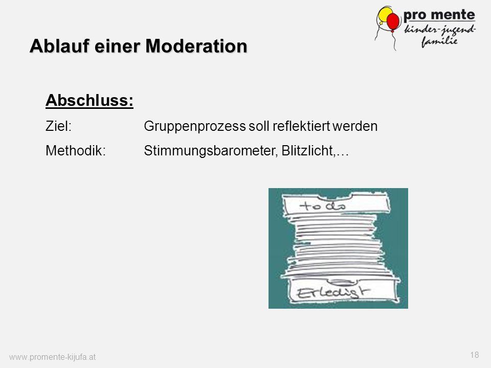 Ablauf einer Moderation www.promente-kijufa.at 18 Abschluss: Ziel:Gruppenprozess soll reflektiert werden Methodik:Stimmungsbarometer, Blitzlicht,…