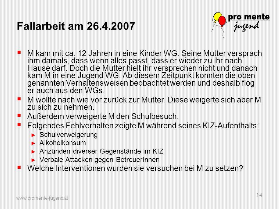 www.promente-jugend.at 14 Fallarbeit am 26.4.2007 M kam mit ca.