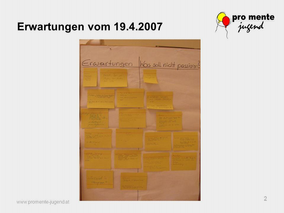 www.promente-jugend.at 2 Erwartungen vom 19.4.2007