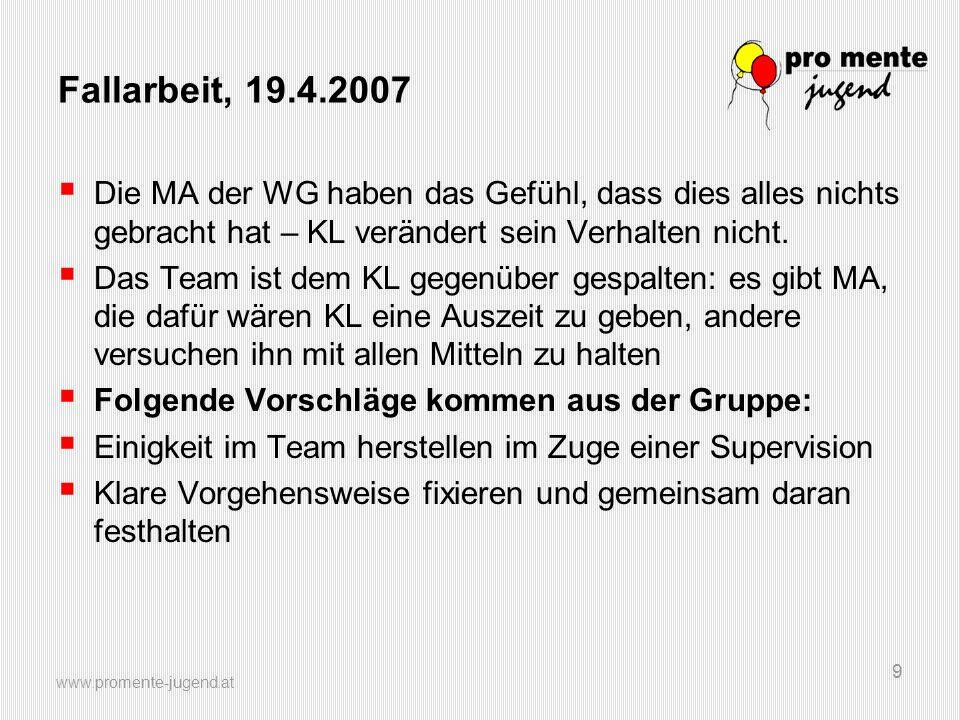 www.promente-jugend.at 9 Fallarbeit, 19.4.2007 Die MA der WG haben das Gefühl, dass dies alles nichts gebracht hat – KL verändert sein Verhalten nicht.