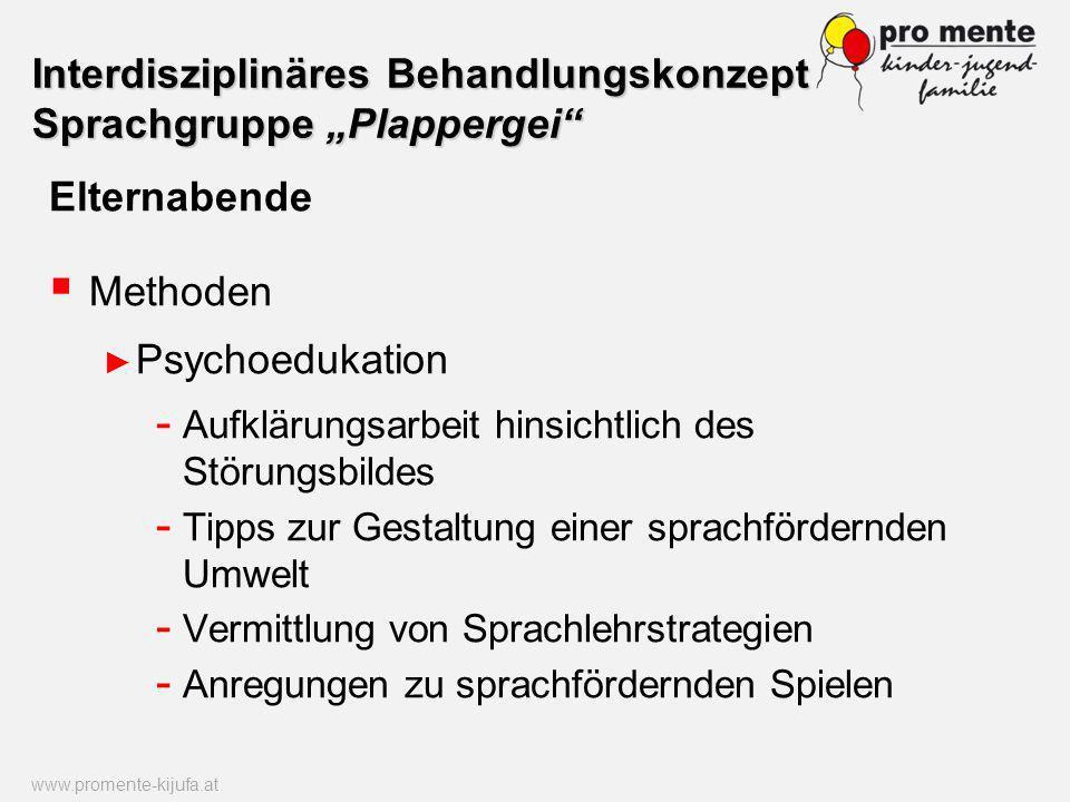 Elternabende Methoden Psychoedukation - Aufklärungsarbeit hinsichtlich des Störungsbildes - Tipps zur Gestaltung einer sprachfördernden Umwelt - Vermi