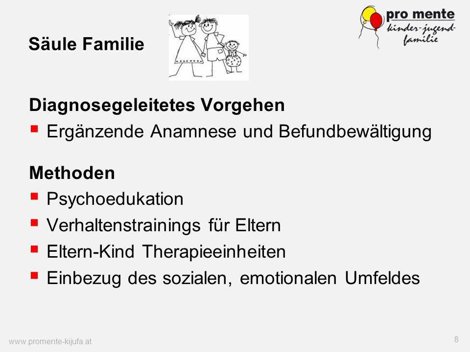 Säule Familie Diagnosegeleitetes Vorgehen Ergänzende Anamnese und Befundbewältigung Methoden Psychoedukation Verhaltenstrainings für Eltern Eltern-Kin
