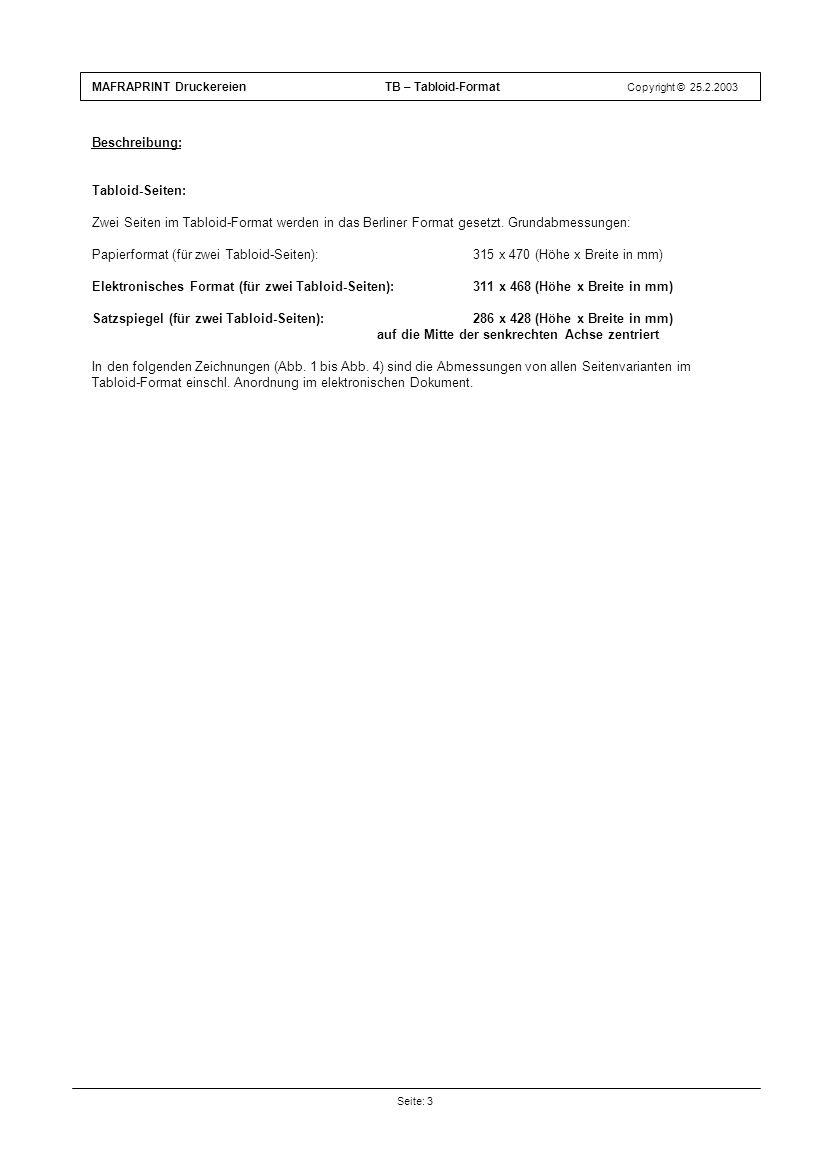 Beschreibung: Tabloid-Seiten: Zwei Seiten im Tabloid-Format werden in das Berliner Format gesetzt. Grundabmessungen: Papierformat (für zwei Tabloid-Se