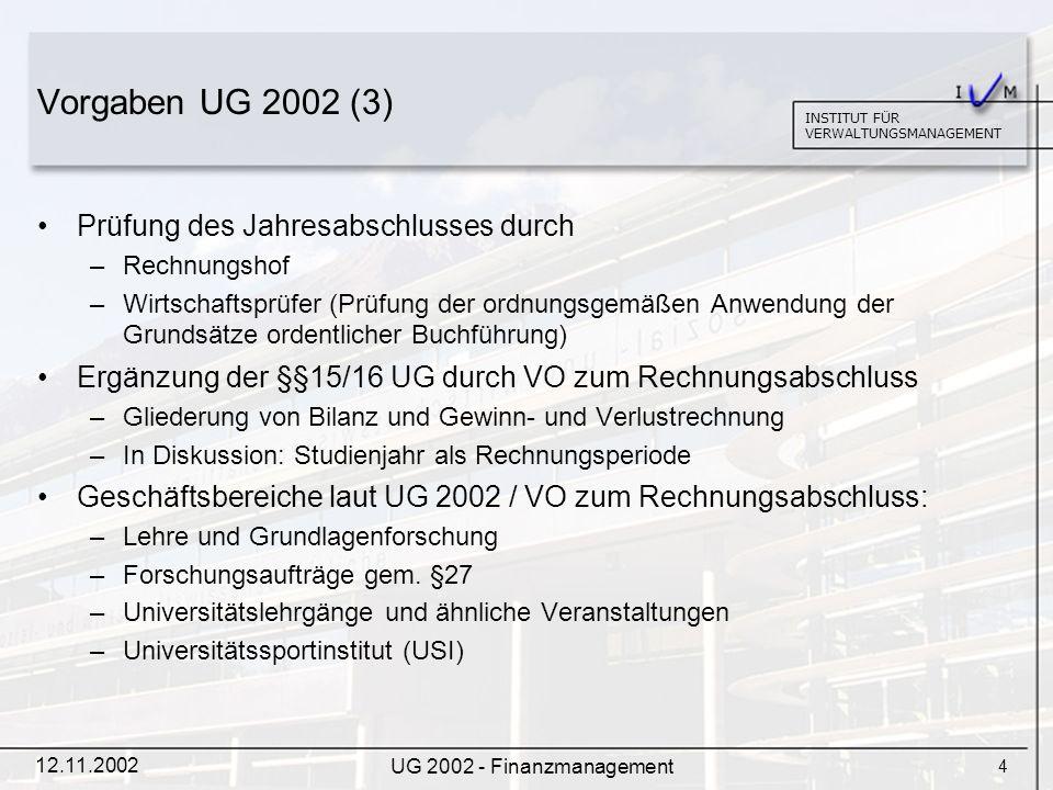 5 INSTITUT FÜR VERWALTUNGSMANAGEMENT 12.11.2002 UG 2002 - Finanzmanagement Projektgebarung Projekte gem.