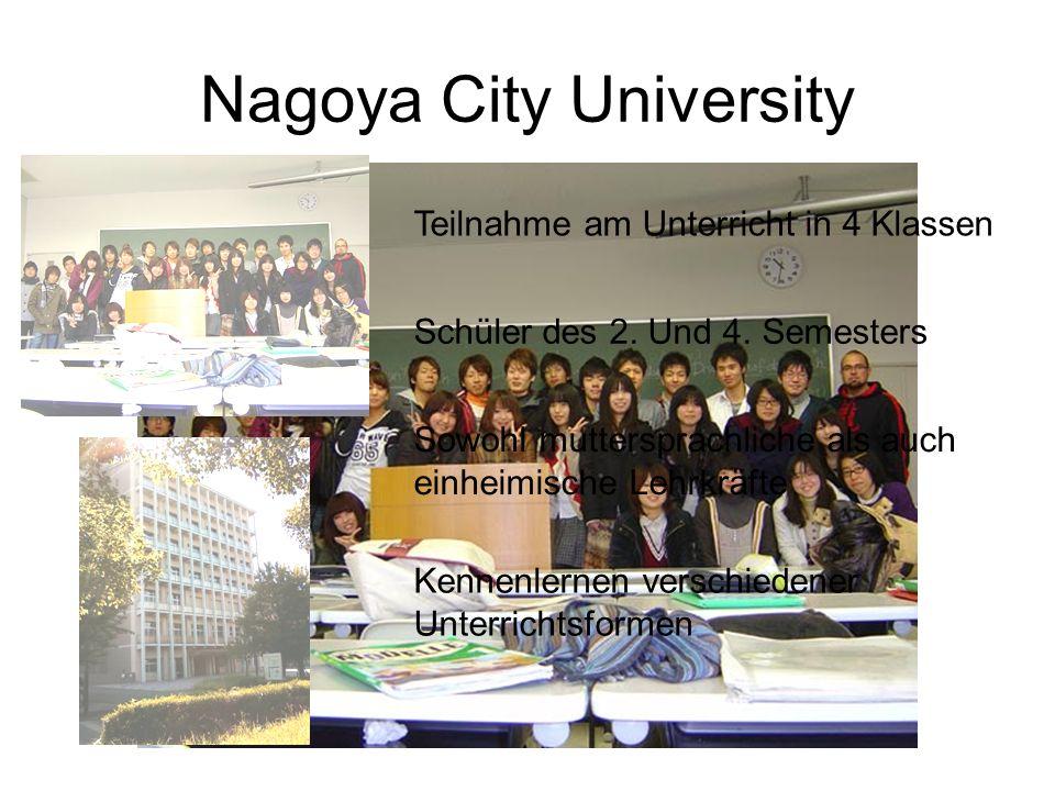 Nagoya City University Teilnahme am Unterricht in 4 Klassen Schüler des 2.