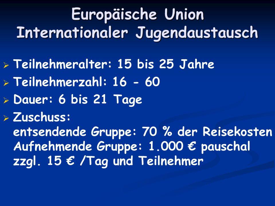 Europäische Union Internationaler Jugendaustausch Teilnehmeralter: 15 bis 25 Jahre Teilnehmerzahl: 16 - 60 Dauer: 6 bis 21 Tage Zuschuss: entsendende