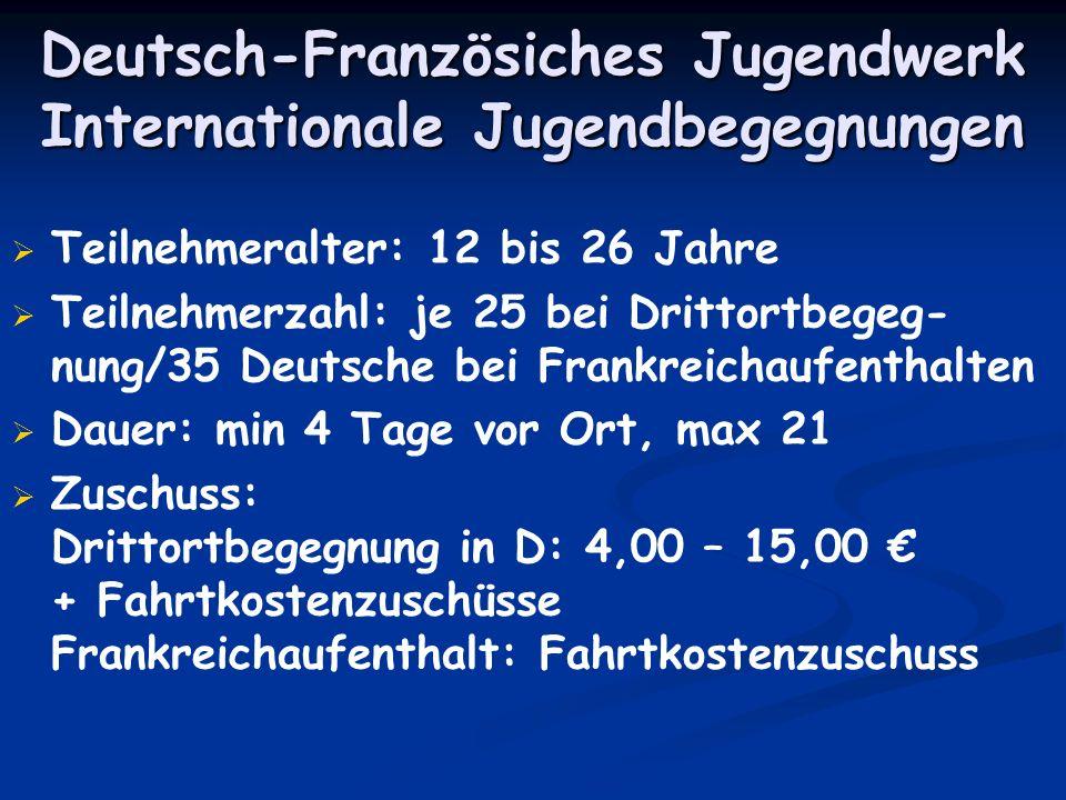 Deutsch-Französiches Jugendwerk Internationale Jugendbegegnungen Teilnehmeralter: 12 bis 26 Jahre Teilnehmerzahl: je 25 bei Drittortbegeg- nung/35 Deu