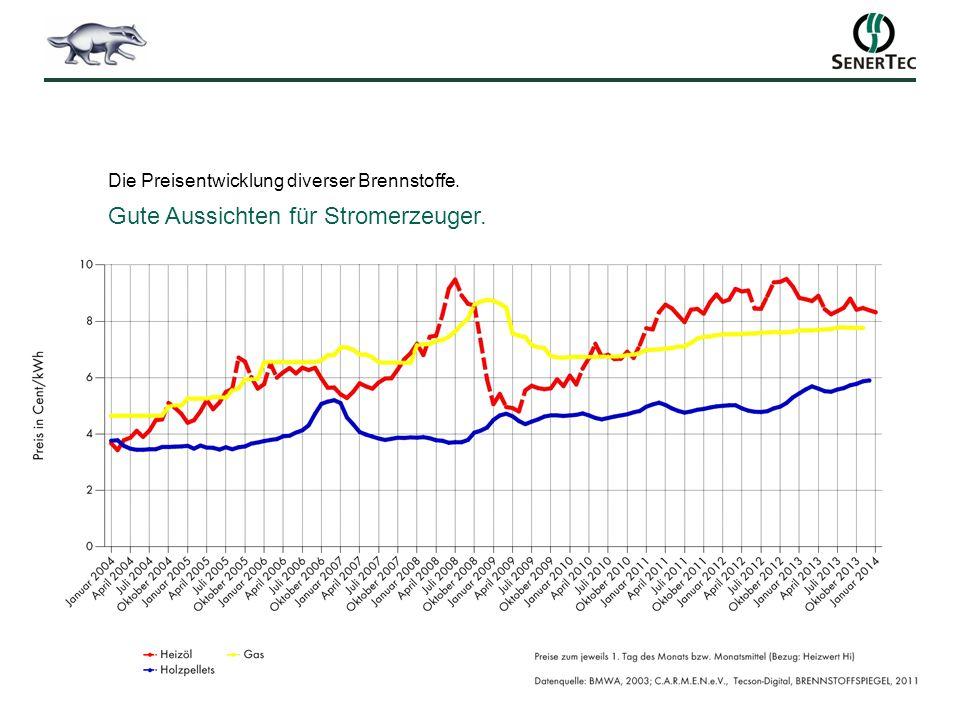 Die Preisentwicklung diverser Brennstoffe. Gute Aussichten für Stromerzeuger.