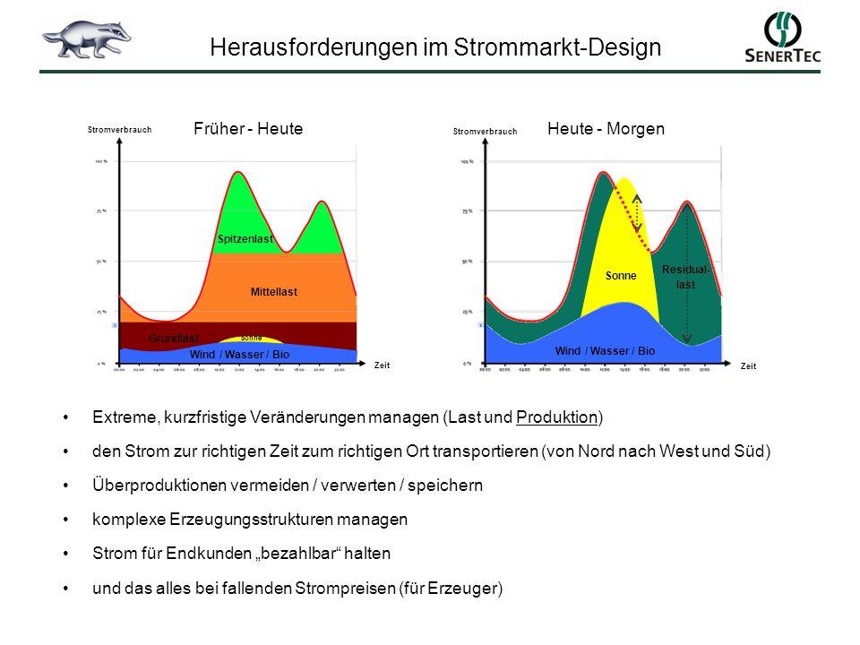 Extreme, kurzfristige Veränderungen managen (Last und Produktion) den Strom zur richtigen Zeit zum richtigen Ort transportieren (von Nord nach West un