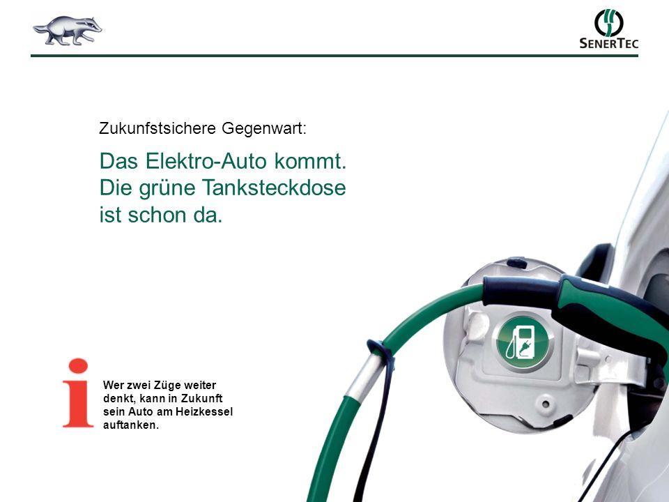 Zukunfstsichere Gegenwart: Das Elektro-Auto kommt. Die grüne Tanksteckdose ist schon da. Wer zwei Züge weiter denkt, kann in Zukunft sein Auto am Heiz